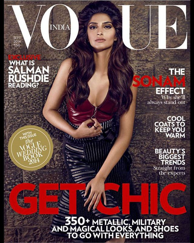 Sonam Kapoor who will soon be seen in her upcoming film Khoobsurat raised the heat as the cover girl of Vogue India Magazine's September edition with a chic look.