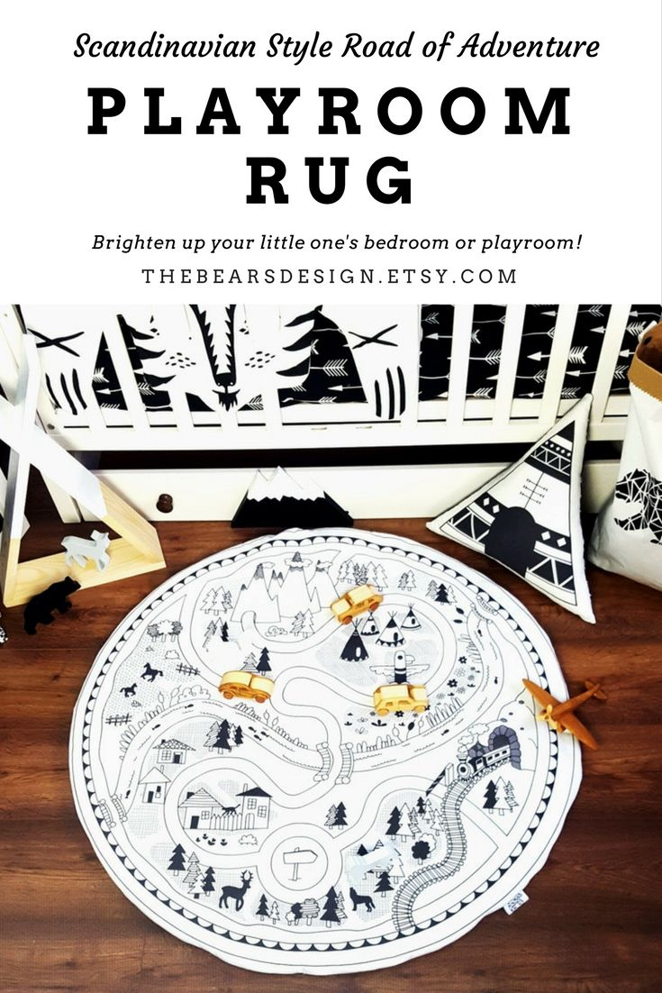 This Etsy shop sells the most amazing products for all things monochrome and Scandinavian kids room! This handmade playroom rug is definitely for all kids loving adventure, story telling and fun! #kidsroom #monochrome #scandinavian #playmat #ad