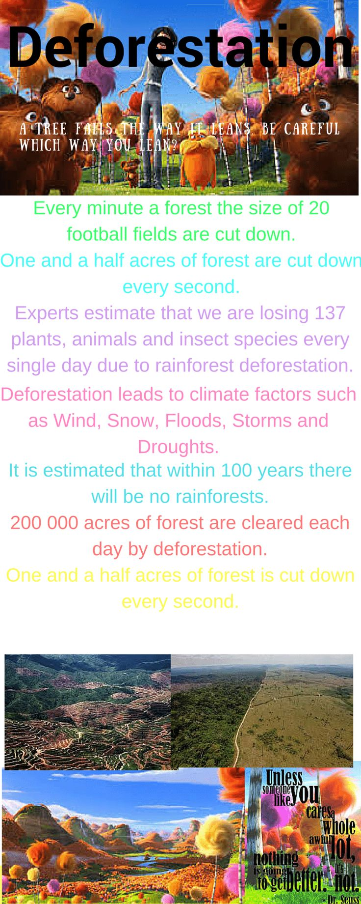 Deforestation a tree falls the way it leans. be careful which way y...