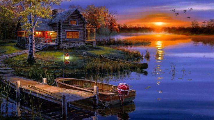 Sunset Cabin On The Lake Desktop Wallpaper Pinterest