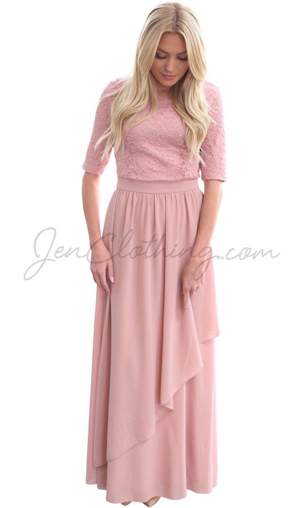 """Lauren"" Modest Maxi Dress in Mauve"