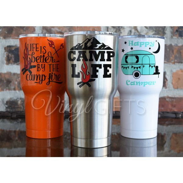Sic 30 Ounce Glacier Tumbler Camping Tumbler Camp Life Stainless Happy... ($33) ❤ liked on Polyvore featuring home, kitchen & dining, drinkware, black, home & living, monogram tumbler, bpa free tumbler, stainless tumbler, stainless cart and monogram cups
