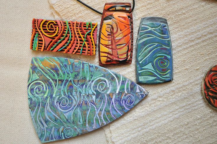 Waves Polymer pattern plate and resulting art | by Page's Creations