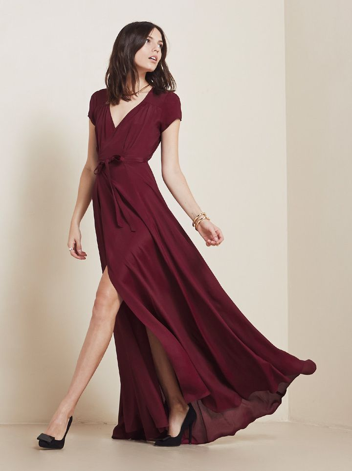 The color of Fall 2014: merlot/oxblood. @reformation Lake Dress #babesmaids. obsessed with this color.