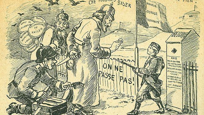 Un petit soldat belge, qui parle le néerlandais, retient des Allemands à la frontière. Il ne se laisse pas corrompre par des promesses vides.  Le porte-parole allemand lui parle aimablement en français, avec un accent très prononcé, mais cache un couteau derrière son dos. Il s'agit d'une carte postale provenant des Archives libérales.