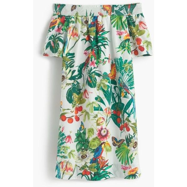 J.Crew Off-The-Shoulder Dress (1,185 HKD) ❤ liked on Polyvore featuring dresses, j crew, cotton summer dresses, summer dresses, j crew dresses, green print dress and mixed print dress