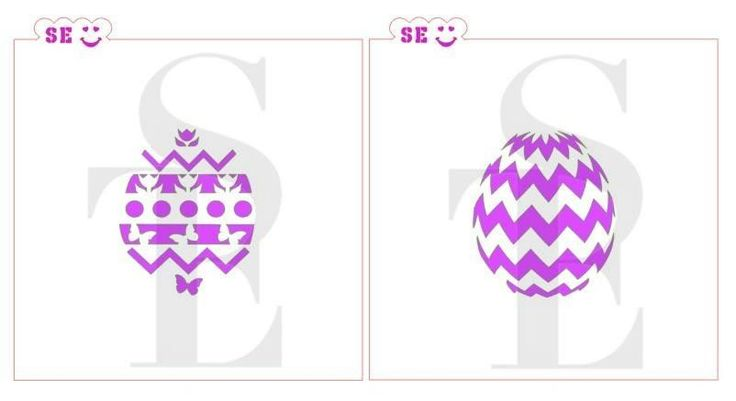 Easter Egg Tulip & Chevron Stencil Designs Bundle for Cookies, Cakes & Culinary