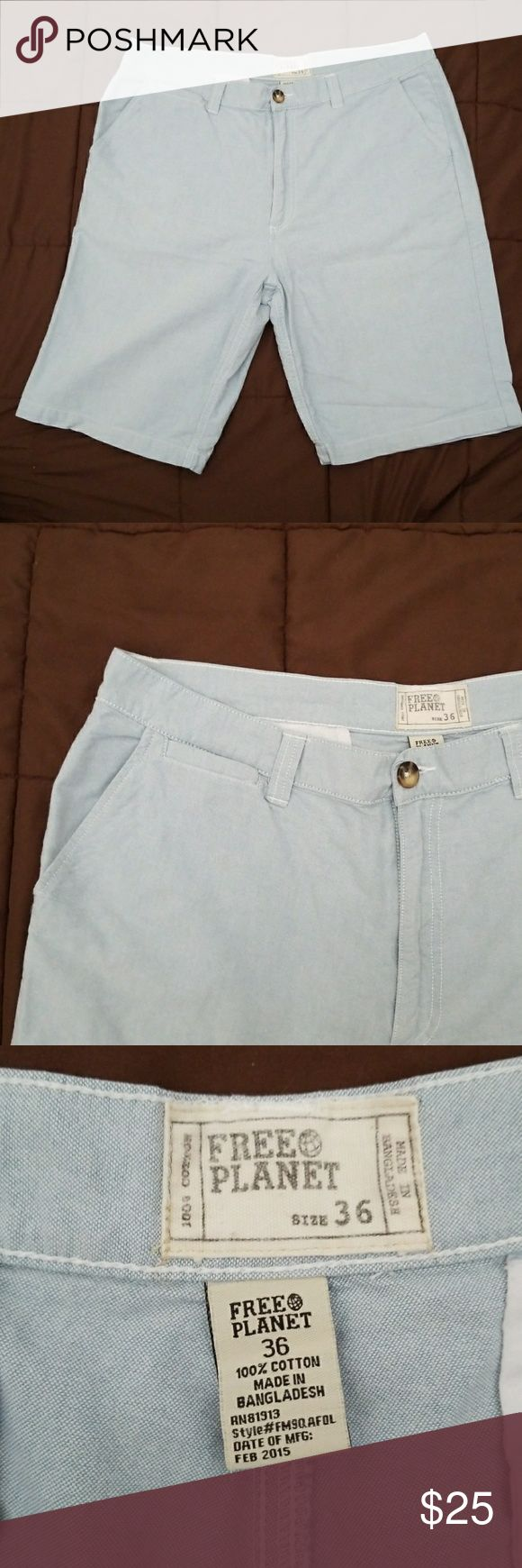 💙 MEN'S DRESS SHORTS 💙 FROM MY HUBBYS CLOSET ! FREE PLANET DRESS SHORTS  SIZE 36 COLOR LIGHT BLUE 100 %COTTON  INSEAM 9.5 INCHES  IN GREAT  CONDITION! Free Planet Shorts