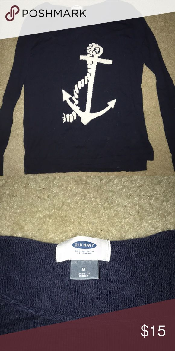 Navy blue anchor sweater Navy and white sweater from old navy with an anchor. No wear and tear or stains. Only worn once! Size Medium  Form fitting! Sweaters Crew & Scoop Necks
