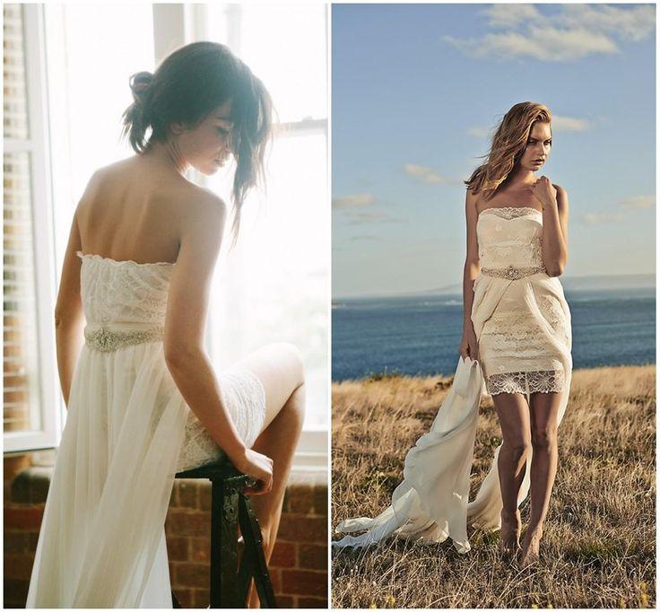 Hi-Low Beach Boho Wedding Dress with Detachable Crystal Belt Train Short  Lace Bohemia Bridal