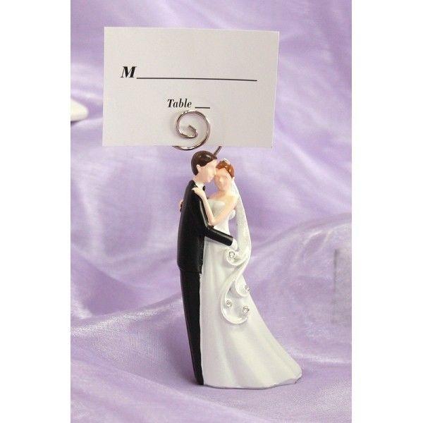 5,80+13,00 1Segnaposto clip statuina strass coppia sposini bomboniera nozze porta fotografie