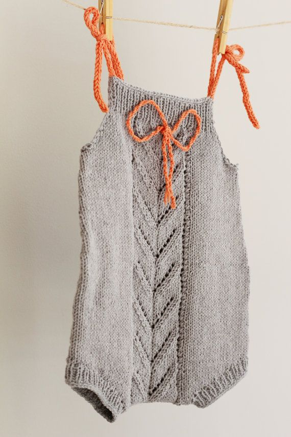 Hand Knit Romper Grey Overalls