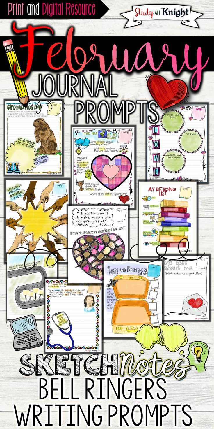 Start your February middle school or high school English language arts classes off with a writing prompt and bell ringer These February writing prompts are thoughtful, relevant, creative, and filled with differentiation. Your students will love writing with these eye-catching sketchnotes!  Groundhog Day, Winter, First Female Doctor, Elizabeth Blackwell, Black History Month, Valentine's Day, travel, reading list, and more.