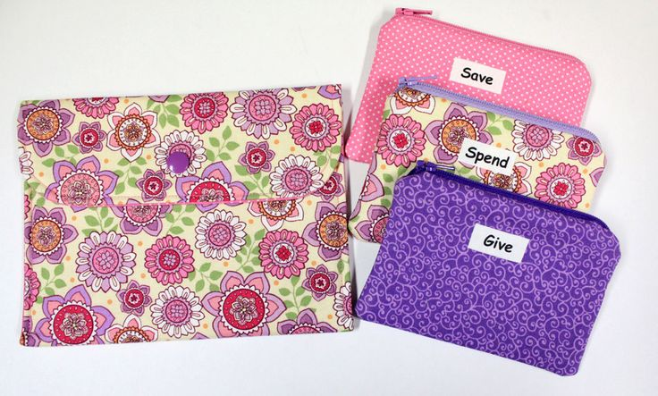 Kids Cash Envelope System - Give Save Spend - Cash Budget System - 3 Zippered Cash Budget Envelopes and Case - READY TO SHIP by TheDaisyBoxGirls on Etsy