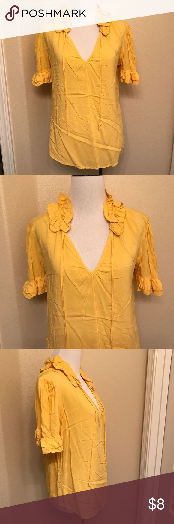 ❤️3 FOR $10 SALE❤️ Ruffle Trim Top Ruffle collar and sleeve yellow top. Overall wear visible, but no holes or stains. Needs to be steamed or ironed. Tops Blouses
