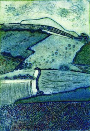 Shropshire Hills, collagraph by Ann Burnham.