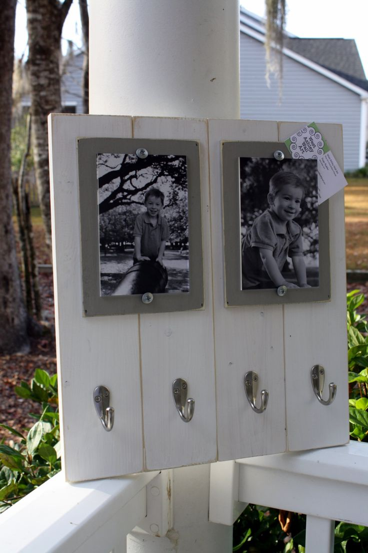 Distressed Picture Frame, Double 4x6 Keyhook Picture Frame, Keyholder Frame, College Frame. $45.00, via Etsy.