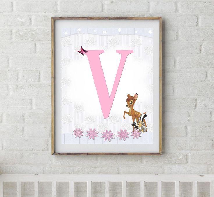 Bambi, Bambi Letters, Letter V, Alphabet Letter V, Bambi Nursery, Baby Initial, Initial Print, Woodland Letter V, Disney Nursery Prints