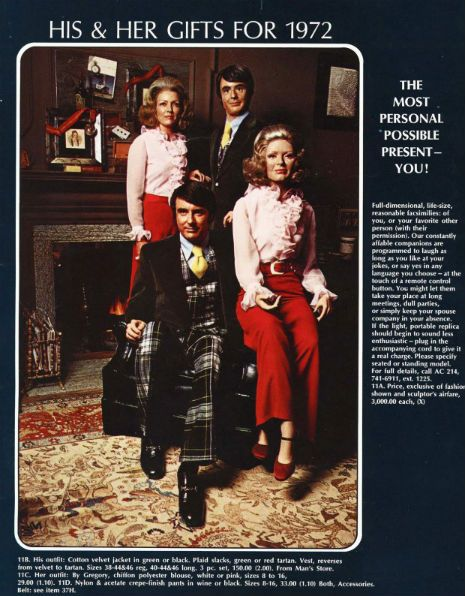 Dangerous Minds   Creepy His-n-Her life-size facsimiles from 1972 Neiman Marcus catalog