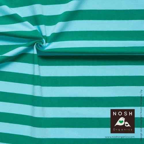 NOSH Stripes, Turquoise/Green. Organic cotton jersey
