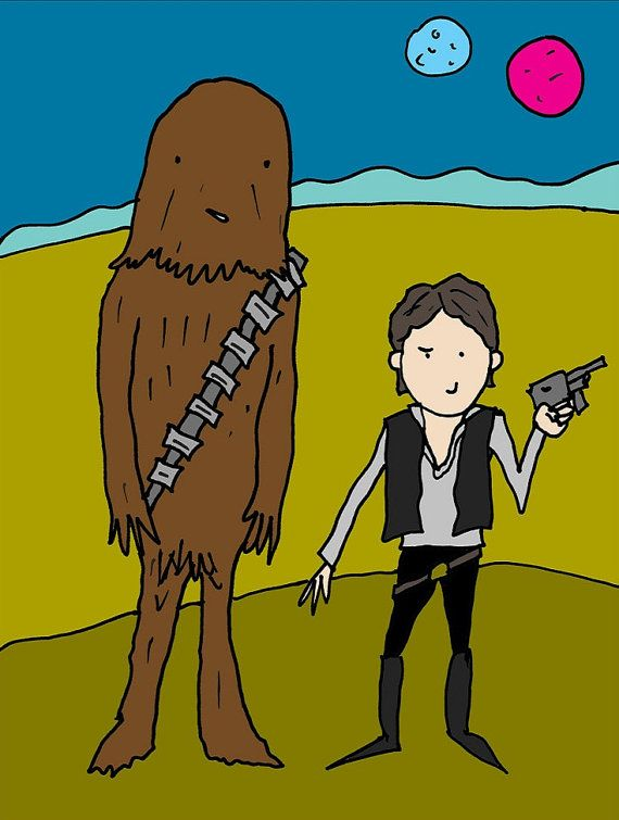 STAR WARS POSTER  Han Solo and Chewbacca  11 x 14 by BEANLAND, $10.00