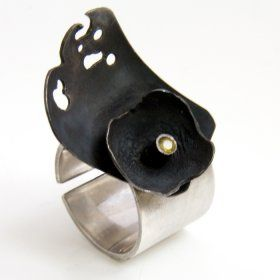 Andreea Mogosanu - Black soul - material 925 Sterling Silver, Oxidized silver, yellow Sapphire stone