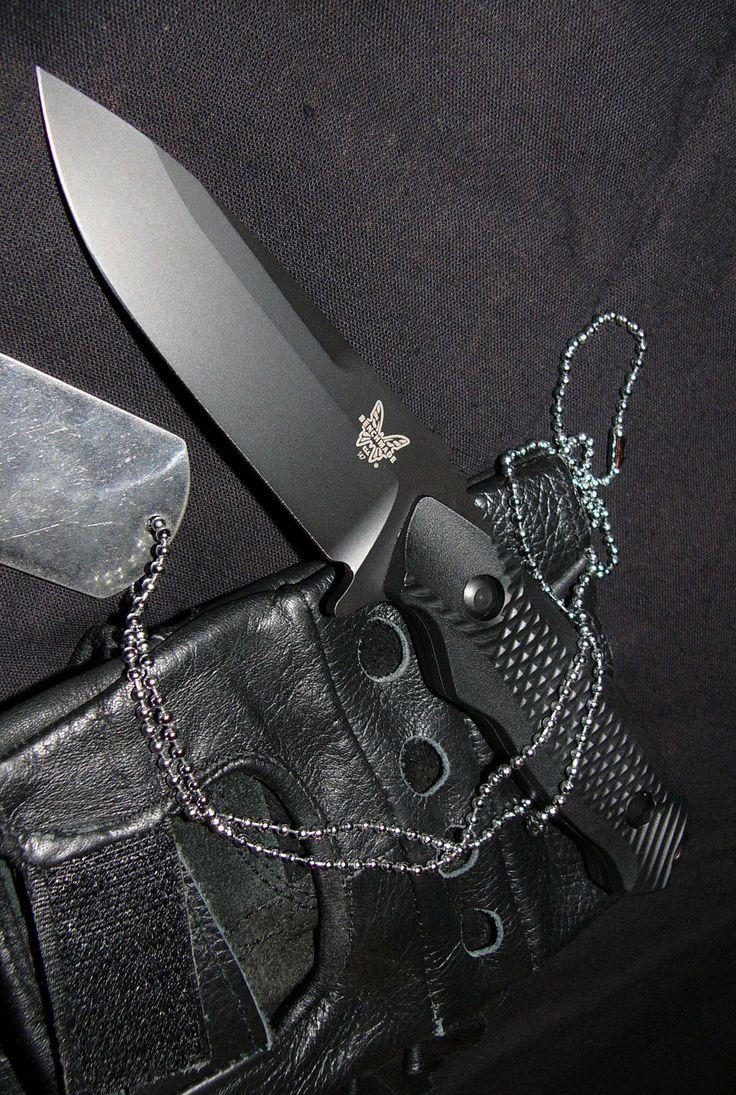 Benchmade Knife 140BK Nimravus, Fixed Tactical Black Knife Blade, Black Handle