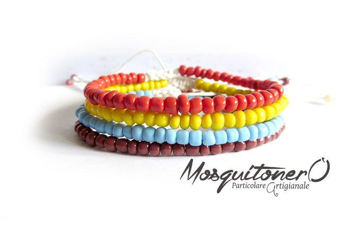 Bracciale di perline da uomo colore turchese giallo rosso marrone bracciale semplice minimalista, by Mosquitonero Shop, 6,90 € su misshobby.com