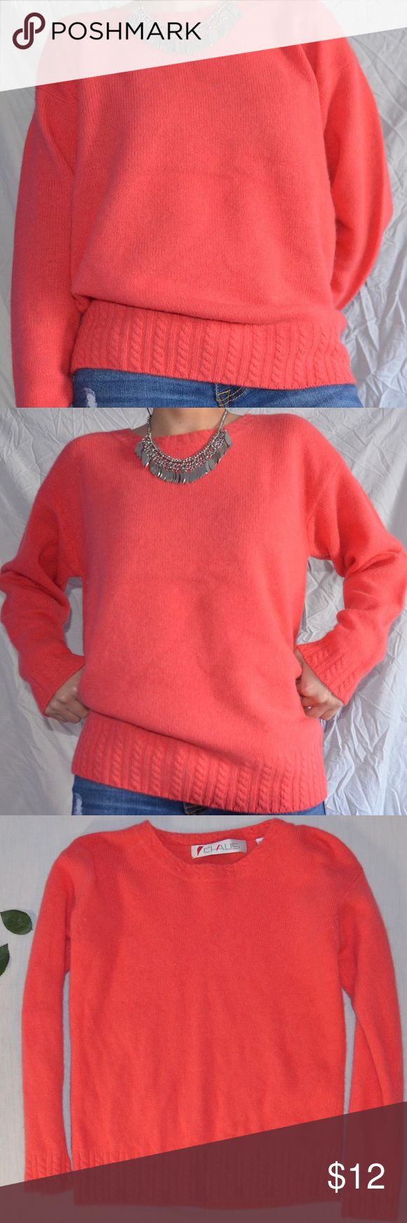 Chaus Coral Sweater Comfortable coral sweater  Like new, only worn less than 5 times   Small, but a bit baggy, if that's something you're interested in. Chaus Sweaters