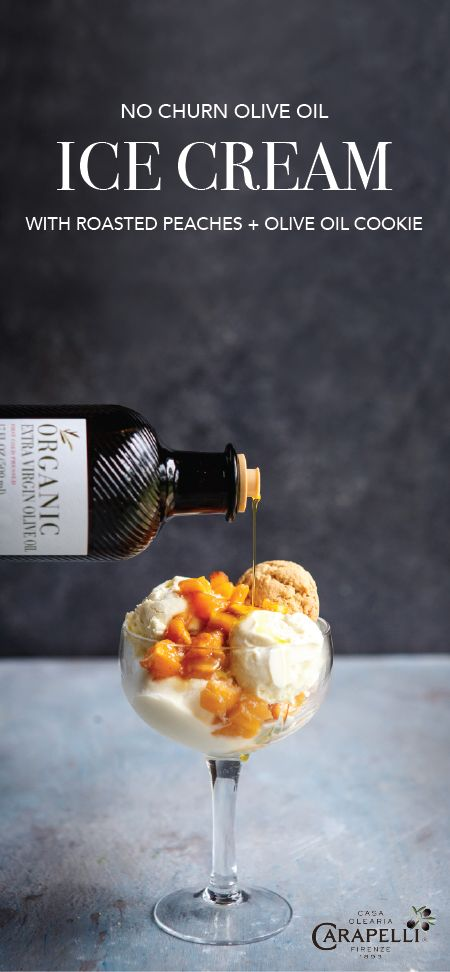 This recipe for No Churn Olive Oil Ice Cream with Roasted Peaches and Olive Oil Cookie is the perfect example of a high-quality, sophisticated dessert idea. Thanks to Carapelli® Organic Extra Virgin Olive Oil and other ingredients you can find at ShopRite, this sweet treat is full of unique flavor combinations that will help you and your party guests celebrate the beginning of fall.