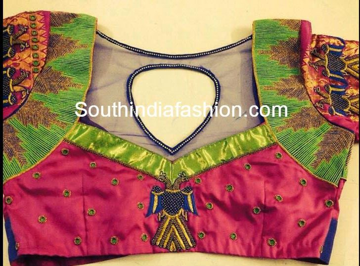 Beautiful Blouse Design for Silk Sarees ~ Celebrity Sarees, Designer Sarees, Bridal Sarees, Latest Blouse Designs 2014