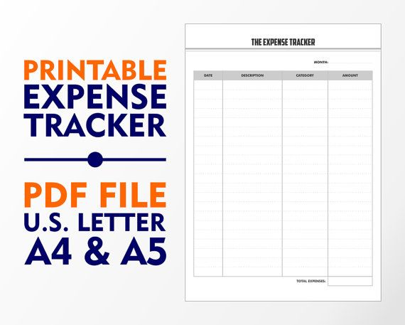 The Expense Tracker A4 A5 and U.S. Letter Downloadable by vecprin