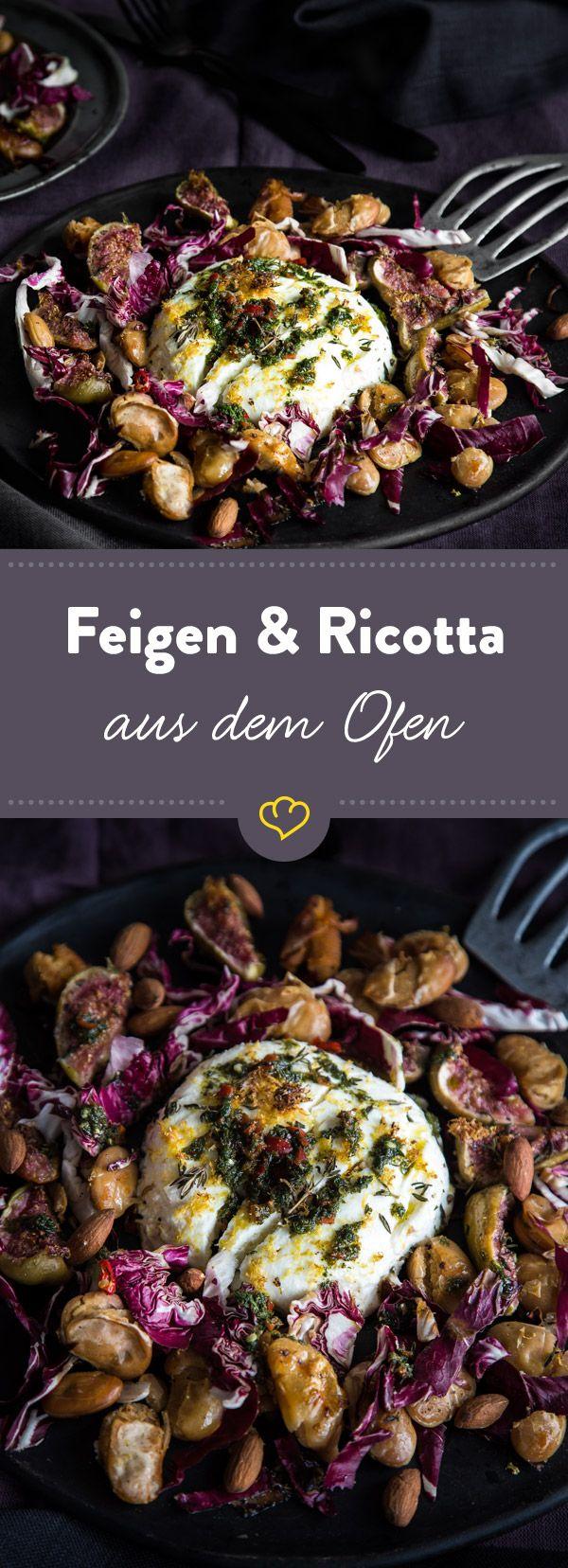 Einfache Zutaten, wenig Aufwand, maximaler Effekt: Bohnen, Feigen und Ricotta aus dem Ofen sehen echt nach Sterneküche aus! Und schmecken so gut!