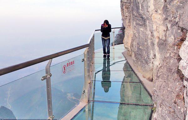 a glass walkway in tianmen mountain national park. CHINA.