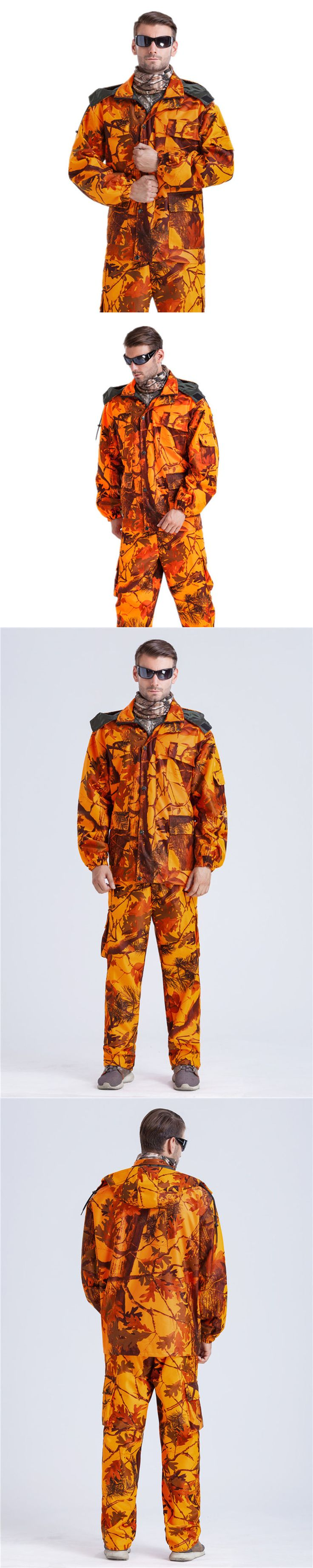 Jacket and Pants Sets 179981: Mens Hunting Clothes Jacket And Pants Set In Blaze Orange Camo Waterproof Hooded -> BUY IT NOW ONLY: $75 on eBay!