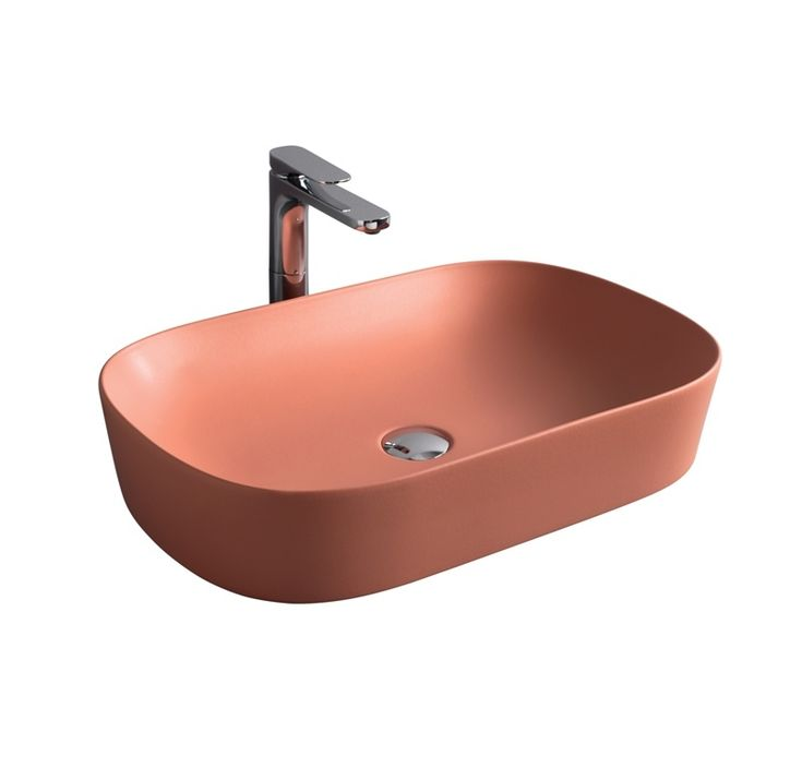 GHOST countertop washbasin #TheArtceram #red #coral  #bathroom #colors