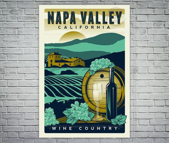 Napa Valley Californie vignobles voyage Vintage rétro affiche vin sérigraphie - Etsy