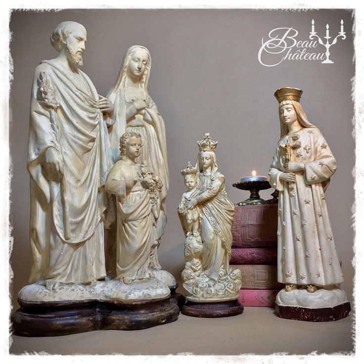A beautiful collection of vintage French chalkware religious statues