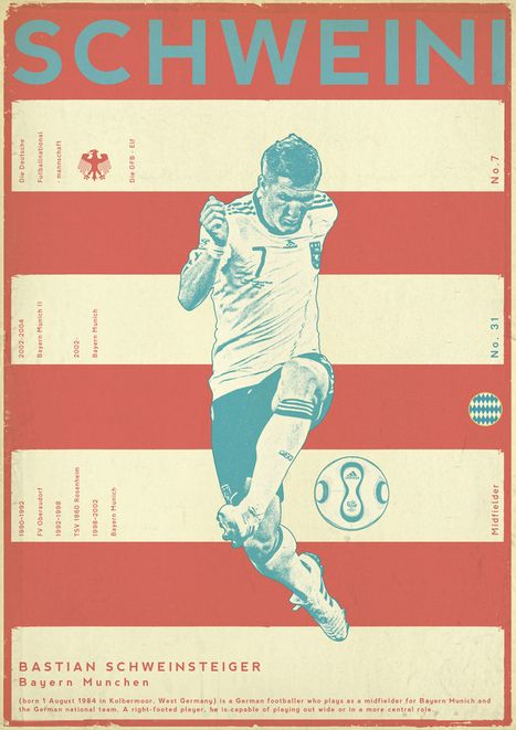 """""""Sucker for Soccer"""" - Bosnian designer Zoran Lucić channels his obsession with the sport into a series of soccer player posters. #soccer #football"""