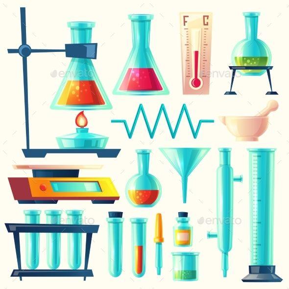 Vector Cartoon Laboratory Equipment Laboratory Equipment Science Lab Flask Drawing