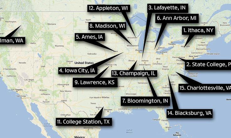 How brainy is your hometown? List reveals the 100 smartest cities in America- and Ithaca, New York takes the top spot http://dailym.ai/11ObQft  State College, PA---2nd Smartest City in the USA