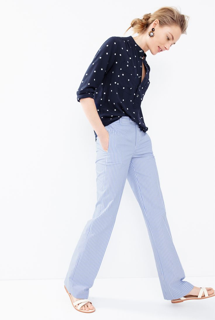 J.Crew Looks We Love: women's silk popover shirt in polka dot, striped cotton pant, daisy tortoise earrings and leather cross-strap flat sandals.