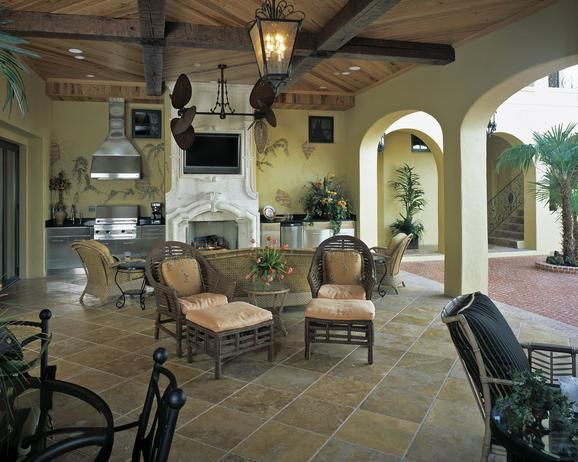 one design option for outdoor spaces and living areas is to bring an indoor theme to - Indoor Outdoor Patio Ideas