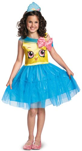 This costume includes a blue dress with a pink bow, and cupcake headband. Does not include shoes. This is an officially licensed Shopkins costume.