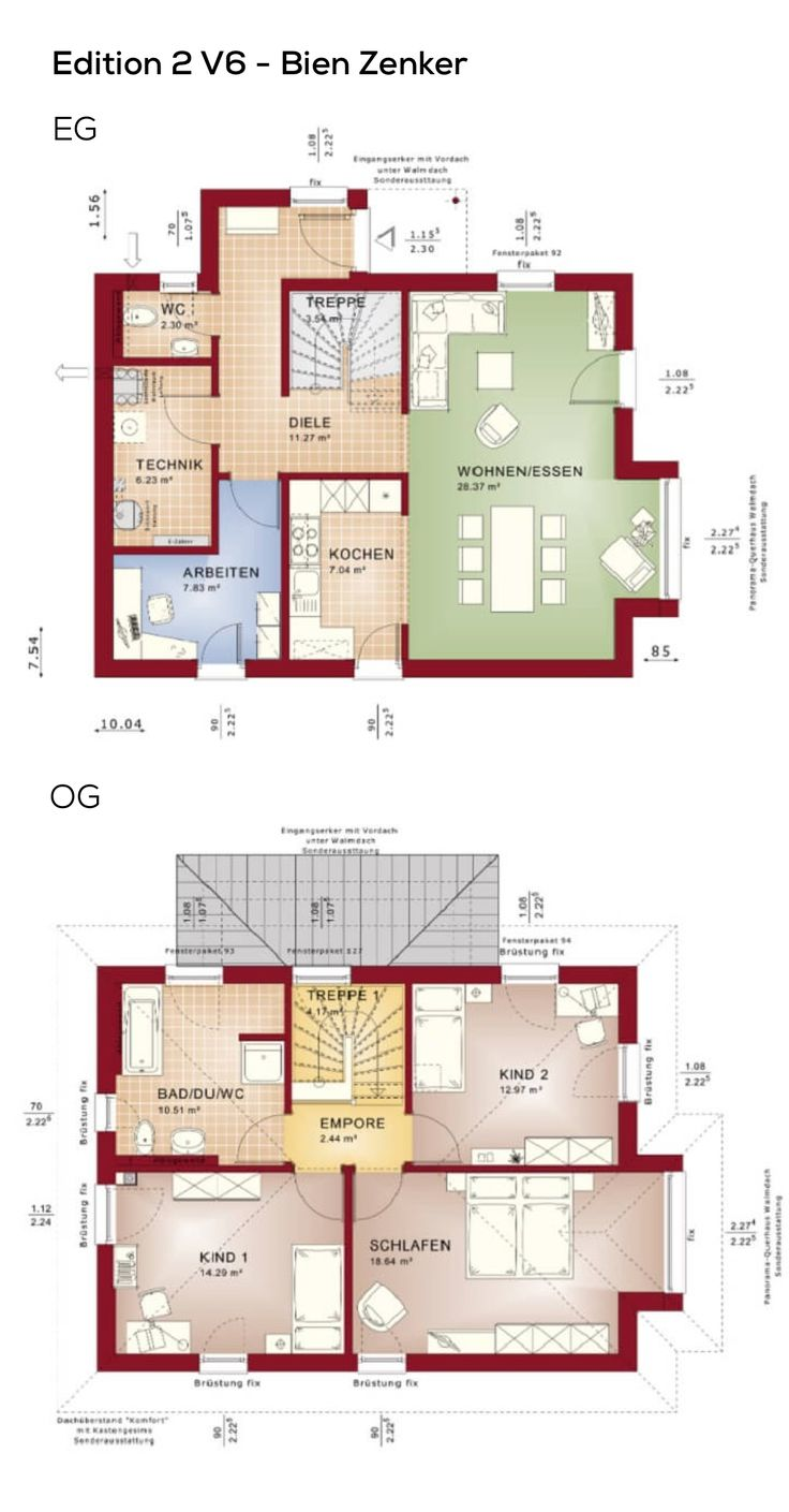 Grundriss Einfamilienhaus Stadtvilla modern mit Klinker