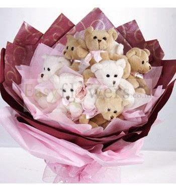 Teddy Bouquet of 6 small teddies arranged in the form of bouquet with special packing on it. #IndiaFlowers #ChennaiFlorist