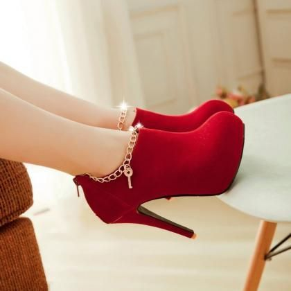 Sexy Charmed Red High Heel Booties