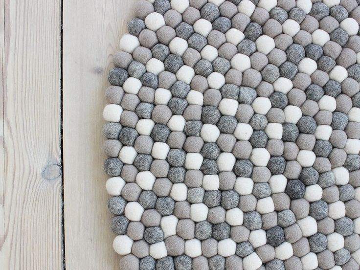 Light Grey - Felt ball rug