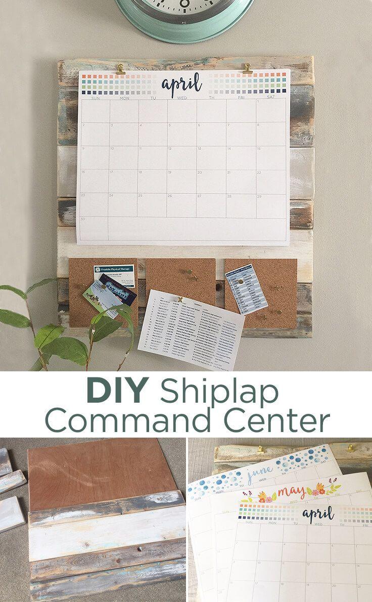 DIY shiplap command center - keep your family organized with a homemade calendar and rustic farmhouse style home decor.
