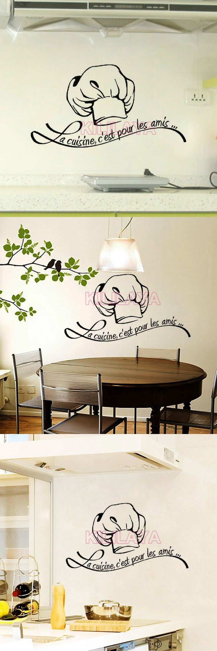 Best 25 wall stickers for kitchen ideas on pinterest kitchen vinyl walls sticker french cuisine tile wall stickers for kitchen mural wall decal art home decor house decoration amipublicfo Gallery